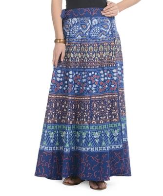 Blue Cotton Printed Wrap Around Long Skirt