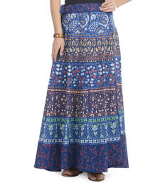 Buy Blue Cotton Printed Wrap Around Long Skirt skirt online