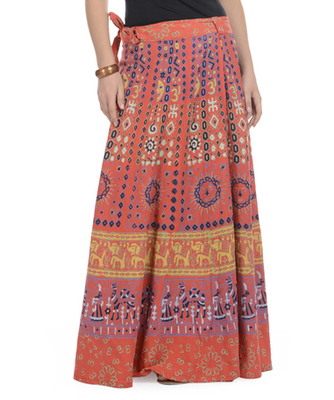 Orange Cotton Printed Wrap Around Long Skirt