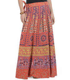 Buy Orange Cotton Printed Wrap Around Long Skirt skirt online