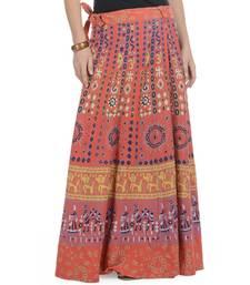 Buy Orange Cotton Printed Wrap Around Long Skirt long-skirt online
