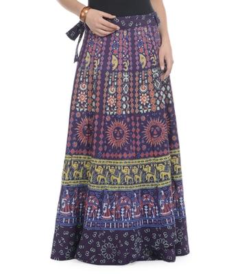 Purple Cotton Printed Wrap Around Long Skirt
