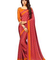 Buy Pink printed crepe saree with blouse crepe-saree online