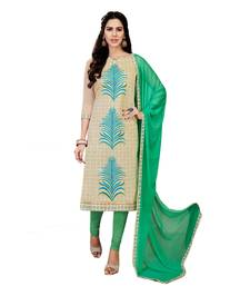 Buy Umangnx Cream embroidered chanderi salwar kameez with dupatta chanderi-salwar-kameez online