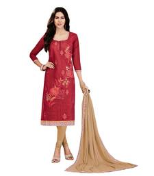 Buy Umangnx Red embroidered chanderi salwar kameez with dupatta chanderi-salwar-kameez online