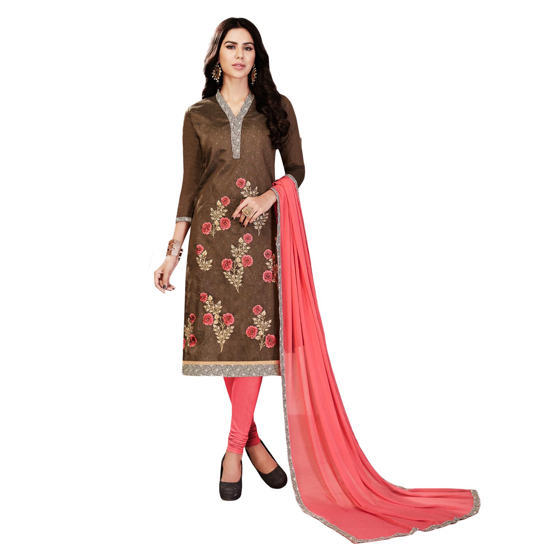 212bed5bd3 Umangnx Brown embroidered chanderi salwar kameez with dupatta - UMANGNX -  2462043