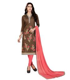 Buy Umangnx Brown embroidered chanderi salwar kameez with dupatta chanderi-salwar-kameez online