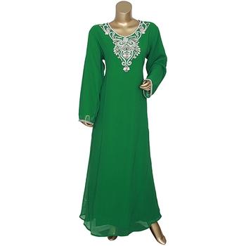 Green Embroidered Crystal Embellished Chiffon Islamic Style Kaftan