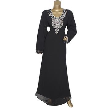 Black Embroidered Crystal Embellished Chiffon Islamic Style Kaftan