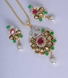 Stunning Gold Plated Diamond Pendant Set shop online