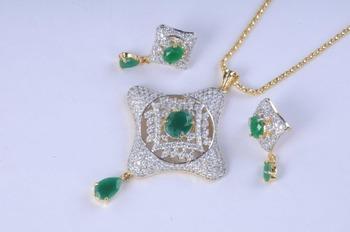 Gold Plated Diamond Pendant Set