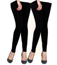 Buy Set of Two Black Cotton Lycra Legging plus-size-legging online