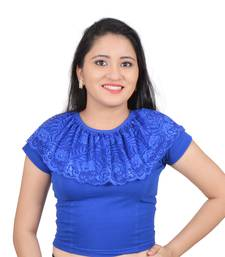 Royal blue cotton plain stitched blouse