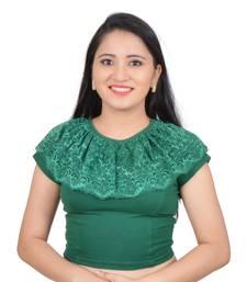 Bottle green cotton plain stitched blouse
