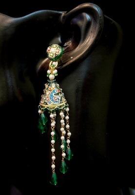 Beautifully Handcrafted Kundan Meena Jhumki Earrings Dangles