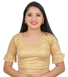 Light Gold cotton plain stitched blouse