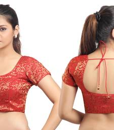 Red Ready Made Stitched Padded Blouse With Gold Prints