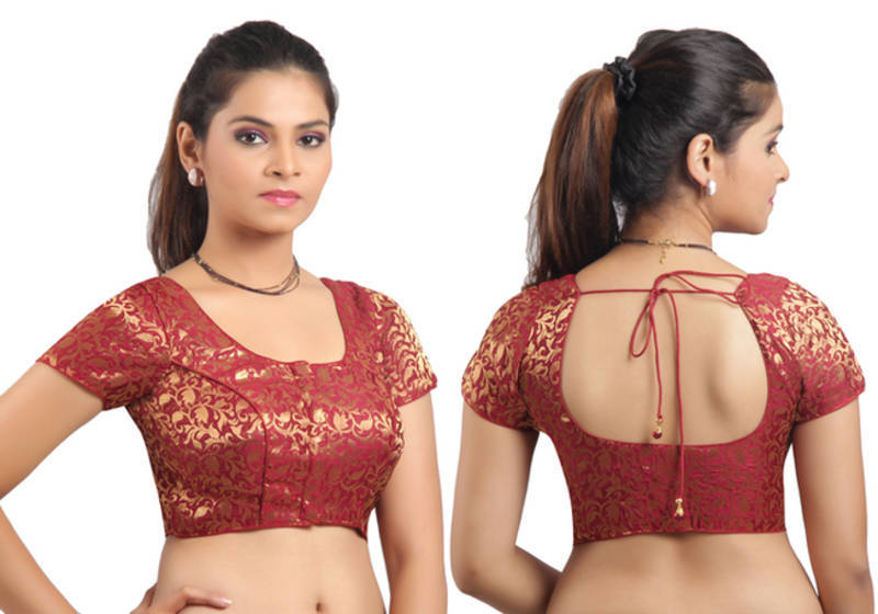 37fd317a20b787 Maroon Ready Made Stitched padded blouse with gold prints - muhenera ...