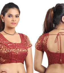 Maroon Ready Made Stitched padded blouse with gold prints