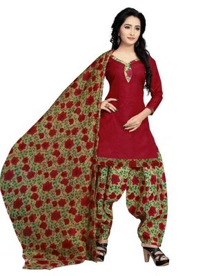 Maroon floral print cotton unstitched salwar kameez with dupatta