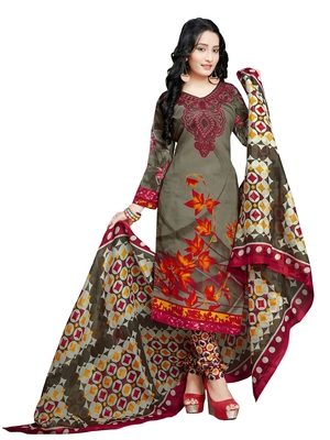Green floral print cotton unstitched  kameez with dupatta