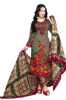 49cc395349 Green floral print cotton unstitched salwar kameez with dupatta. Shop Now