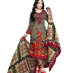 Green floral print cotton unstitched  kameez with dupatta