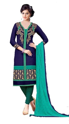 Blue floral print cotton unstitched  kameez with dupatta