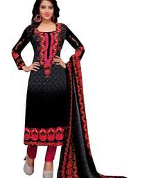 Black floral print cotton unstitched salwar kameez with dupatta