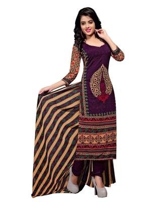 Purple floral print cotton unstitched  kameez with dupatta