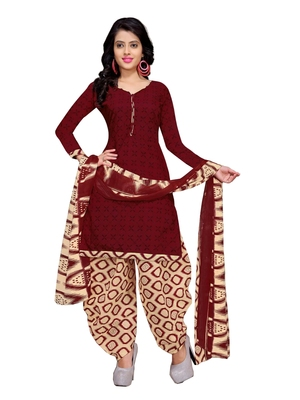 Maroon Floral Print Cotton Unstitched Salwar Kameez With Dupatta
