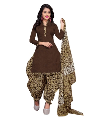 Brown Floral Print Cotton Unstitched Salwar Kameez With Dupatta