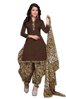 708591c419 Brown floral print cotton unstitched salwar kameez with dupatta
