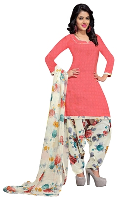 Peach floral print cotton unstitched salwar kameez with dupatta