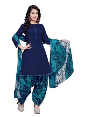 Navy-Blue floral print cotton unstitched salwar kameez with dupatta