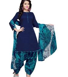 Navy-Blue Floral Print Cotton Unstitched Salwar Kameez With Dupatta