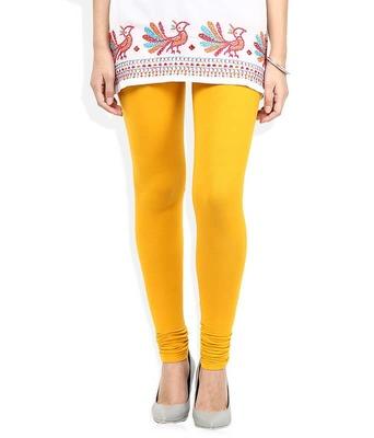Abstracta yellow churidaar cotton leggings