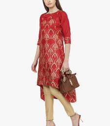 red raw silk polyester  kurti