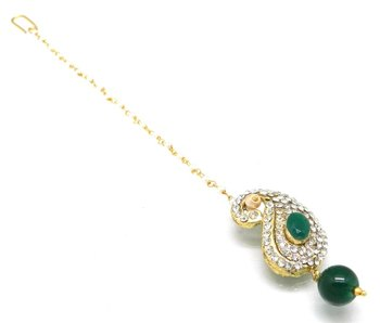 Buti Shaped Maang Tikka Decorated With Crystal And Pearl Drop