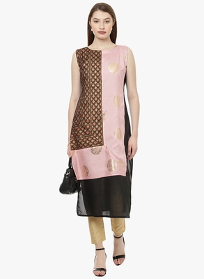 black raw silk polyester  kurti
