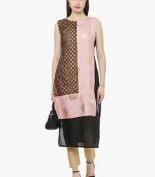 black raw silk polyester  kurti