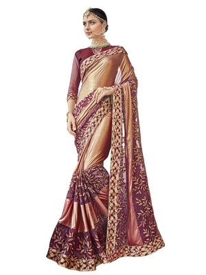Maroon embroidered pure fancy fabric saree with blouse