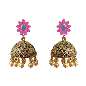 Antique Meenakari flowershape goldplated brass Pink Oxidized pearl tokri jhumki earring set