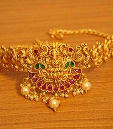 Multicolour Gold Look Temple Jewellery Bajuband