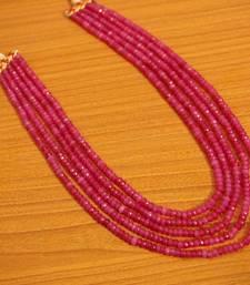 5 Line Semi Precious Stone Pink Beaded Necklace