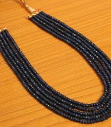 Blue Sapphire Semi Precious 5 Line Necklace