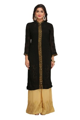 Black Embroidered Faux Georgette Chikankari Kurti