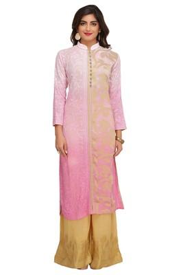 Pink embroidered faux georgette chikankari-kurtis