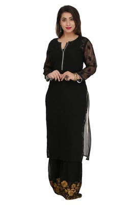 Black Embroidered Faux Georgette Chikankari Kurti