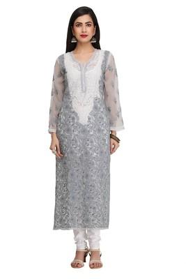 Grey Embroidered Faux Georgette Chikankari Kurti